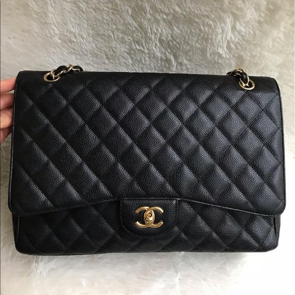 95c762423359b1 CHANEL Bags | Authentic Maxi Black Caviar Ghw Single Flap | Poshmark
